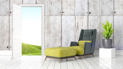 Modern bright interior with open door . 3D rendering