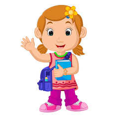 School girl cartoon walking