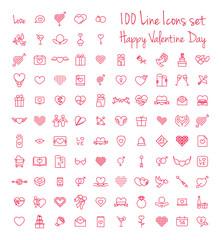Happy Valentine day thin line flat isolated red 100 icons set on