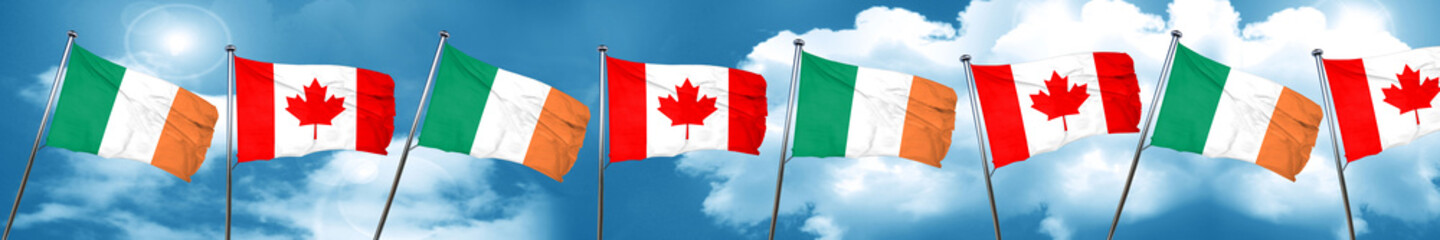 Ireland flag with Canada flag, 3D rendering