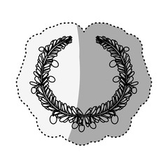 Wreath leaves ornament icon vector illustration graphic design