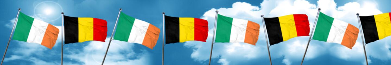 Ireland flag with Belgium flag, 3D rendering