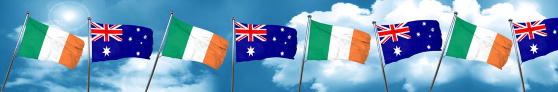 Ireland flag with Australia flag, 3D rendering