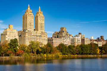 Upper West Side buildings and Central Park in Fall. Manhattan, New York City