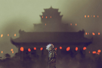 young man standing against ancient temple with red lights,illustration painting
