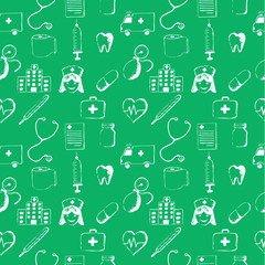 Green seamless pattern-medical items. This illustration is drawn with a pencil.