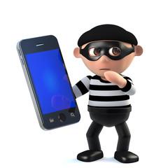 3d Funny burglar character has stolen a smartphone