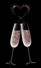 Two glasses of sparkling champagne on a black background. Valentine Day dating romantic heart rose pink glowing vector card