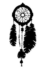 Dream catcher silhouette with feathers and beads.