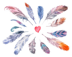 Watercolor drawing feather collection. Isolated images. For decor, cards, invitations, wedding