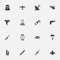 Set Of 16 Simple Military Icons. Can Be Found Such Elements As Molotov, Rifle Gun, Air Bomber And Other.