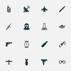 Set Of 16 Simple War Icons. Can Be Found Such Elements As Molotov, Chemistry, Sky Force And Other.
