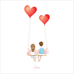 Cartoon lover couple is sitting on red heart balloon swing, being on white background, Happy Valentines Day concept, Vector Illustration