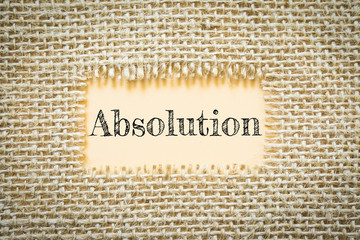 Text Absolution on paper Orange has Cotton yarn background you can apply to your product.