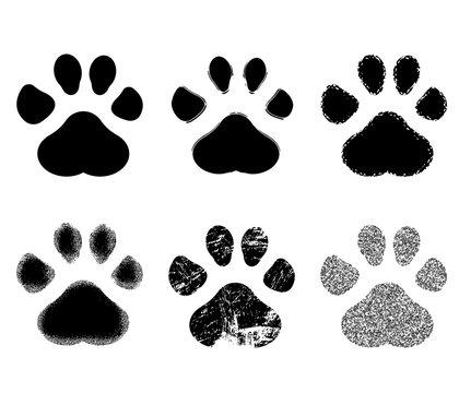 Set of Paw Print. Vector illustration.
