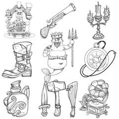 Set illustrations with pirate attributes. Various items Medieval Pirates. Cartoon drawing for gaming mobile applications. Illustration for coloring.