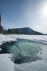 Unfrozen mountain river with blue water, Russia