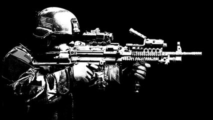 United states Marine Corps special operations command Marsoc raider with machine gun. Studio shot of Marine Special Operator black background
