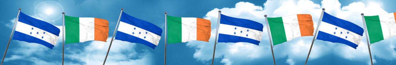 Honduras flag with Ireland flag, 3D rendering