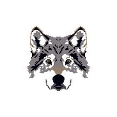 Pixel face wolf logo