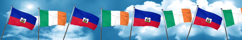 Haiti flag with Ireland flag, 3D rendering
