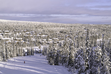 Cottage village in winter the ski resort of Finland Ruka