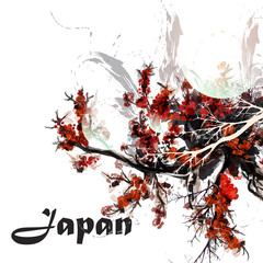 Abstract background with watercolor painted cherry tree branches in Japan style