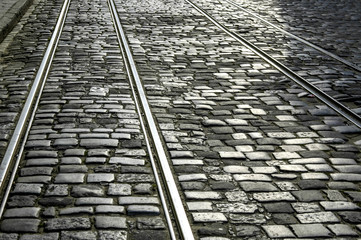 Street car tracks, stones, Ukraine, Western Ukraine, Lviv