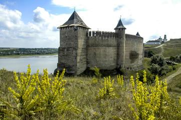 In de dag Fantasie Landschap Chotyn, fortress, Ukraine, Western Ukraine