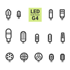 LED light bulbs with G4 base, vector outline icon set on white background
