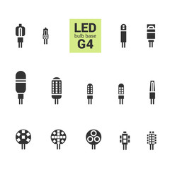 LED light bulbs with G4 base, vector silhouette icon set on white background