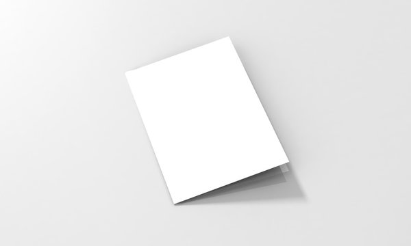 Tri-Fold A5 Brochure Mock-up, Realistic Rendering of Tri-Fold A5/A4 Brochure Mock-up on Isolated White Background, 3D Illustration
