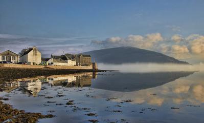Misty morning over Loch Fyne at Inveraray