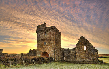 Sunrise over the old ruin of Crossraguel Abbey in Ayrshire Scotland.