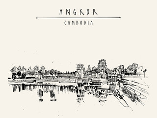 Angkor wat, Cambodia. Hindu temple complex. The largest religious monument in the world. Vintage touristic postcard, grungy artistic hand drawing