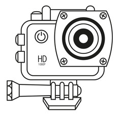 Sport camera, action camera isolated on white background. Vector illustration in line style.