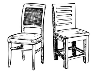 Two chairs isolated on white background. Vector illustration in a sketch style.