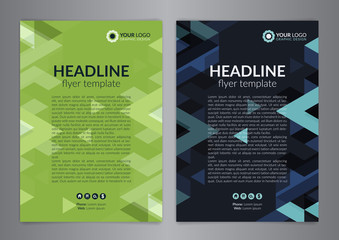 Business brochure flyer design layout template, size A4, with triangle pattern. Modern Backgrounds. Vector illustration.
