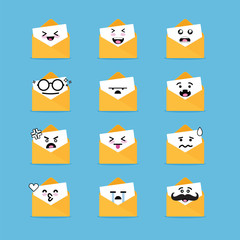 Smile emoji emoticon face in email with a lot of variation