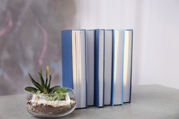 New books and  plant on color background