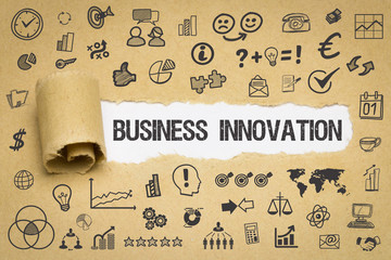 Business Innovation / Papier mit Symbole