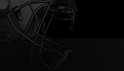 American football black helmet on black dark background, 3d render