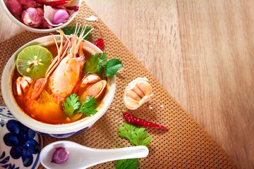 Close up Asian Spicy soup with shrimp in  bowl , famous Thai foo