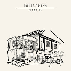 Battambang, Cambodia, Southeast Asia. Residential house and cafe. Travel sketch. Vintage handdrawn touristic postcard, poster, book illustration