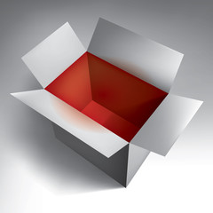Open empty volume grey box, red inside, abstract object, vector design