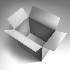 Open empty volume grey box , abstract object, vector design