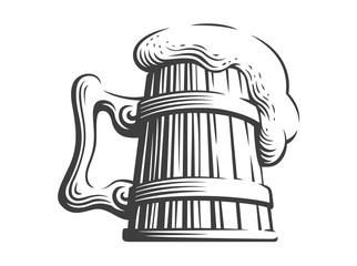 Wooden beer mug - vector illustration, design on white background