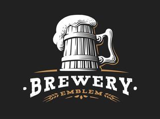 Wooden beer mug logo- vector illustration, emblem brewery design on dark background