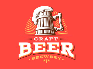Craft beer logo- vector illustration, emblem brewery design on red background