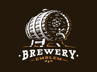 Wooden beer barrel logo - vector illustration, emblem brewery design on black background